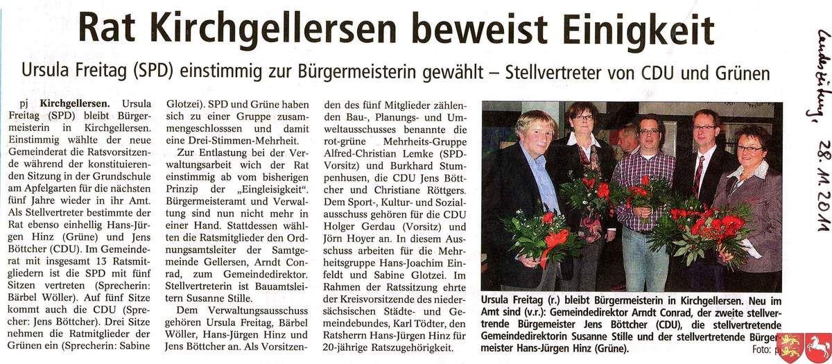 Landeszeitung du Samedi 12 Novembre 2011, du Mardi 8 Novembre 2011 et du Lundi 28 Novembre 2011