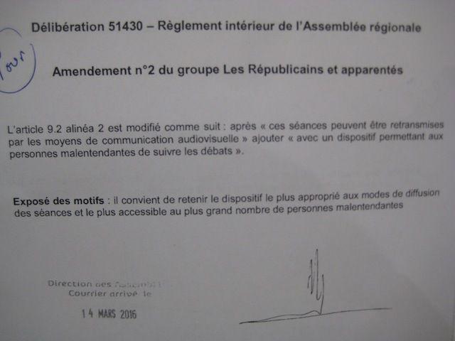 Amendement LR et apparentés enregistré le 14 mars. Un simple copié-collé de celui du FN-RBM.