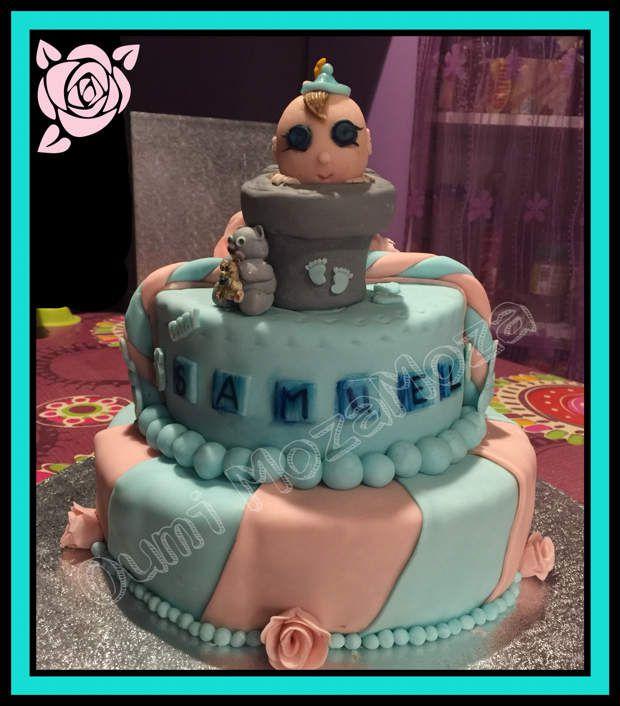 Gateau Baby Shower - 100% des modelages réalisés à la main - petit pot de fleur en rkt et PAS - bébés en PAS - Genoise - confiture fruits rouges - nutella - 17 octobre 2016 - baby shower Samuel et Melia