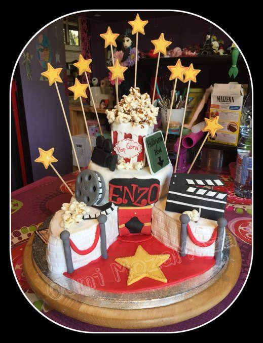 Gateau Hollywood - génoise au chocolat - ganache chocolat noir - nutella - rkt - pâte à sucre - gel alimentaire - pop corn - caramel - 11 ans de Enzo - octobre 2016