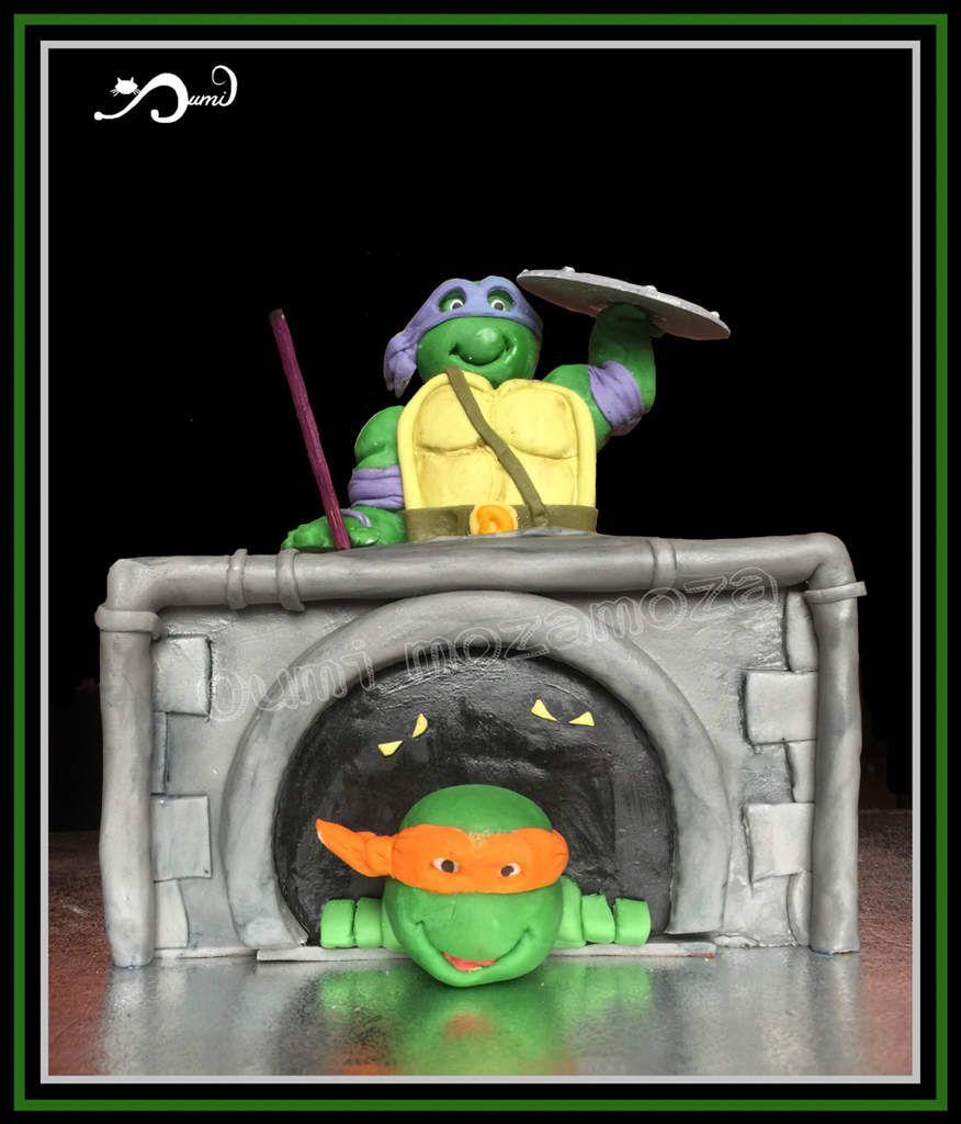 Gateau tortue Ninja - modelé entièrement à la main - 7 ans de mon fils Mohamadi - decembre 2016