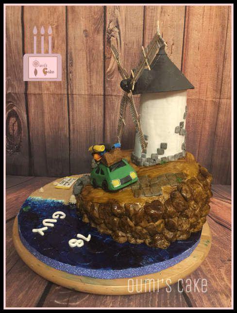 Gâteau moulin - entièrement réalisé à la main et peint à la main et comestible