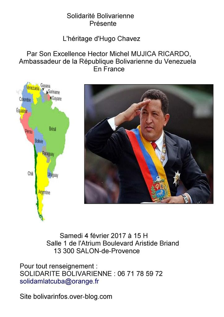 Invitation de Solidarité Bolivarienne: Conférence sur l'Héritage d'Hugo Chavez par son Excellence Hector Michel Mujica Ricardo