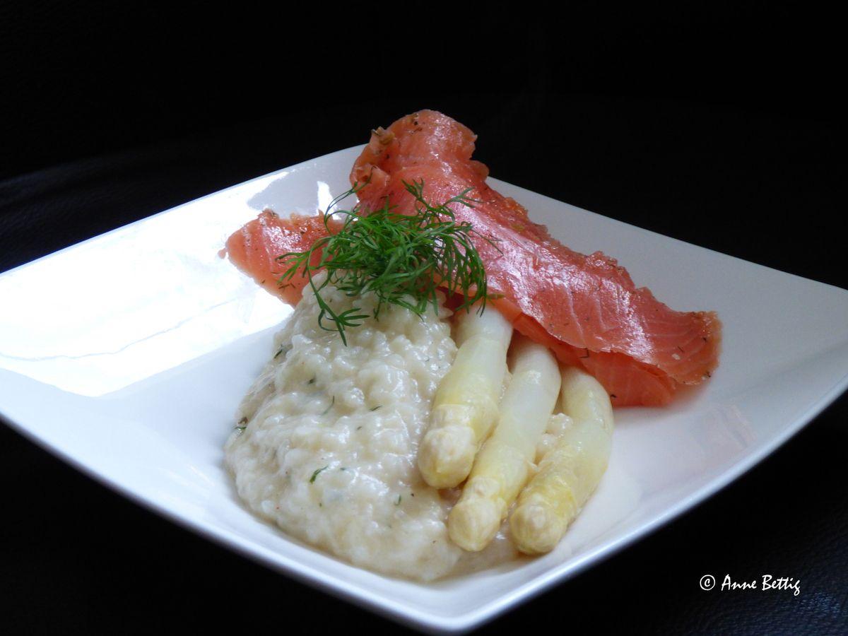 Risotto de fenouil et asperges et son saumon fumé