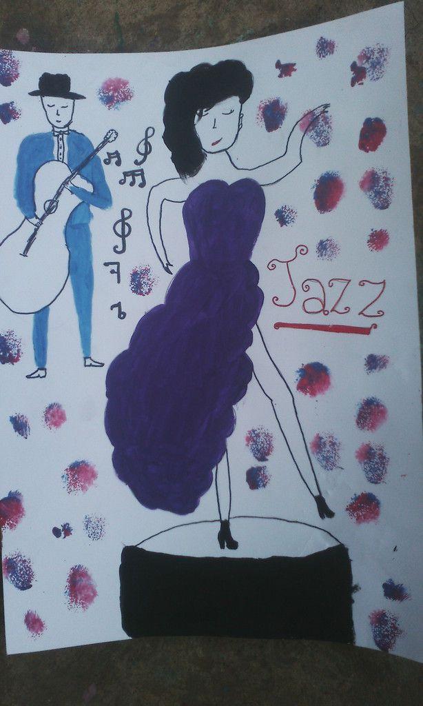 Le professeur de musique,la professeur d'arts plastiques et les élèves du collège ont fait un projet pour la fête du  jazz et sont arrivés à cette production.       le jazz.