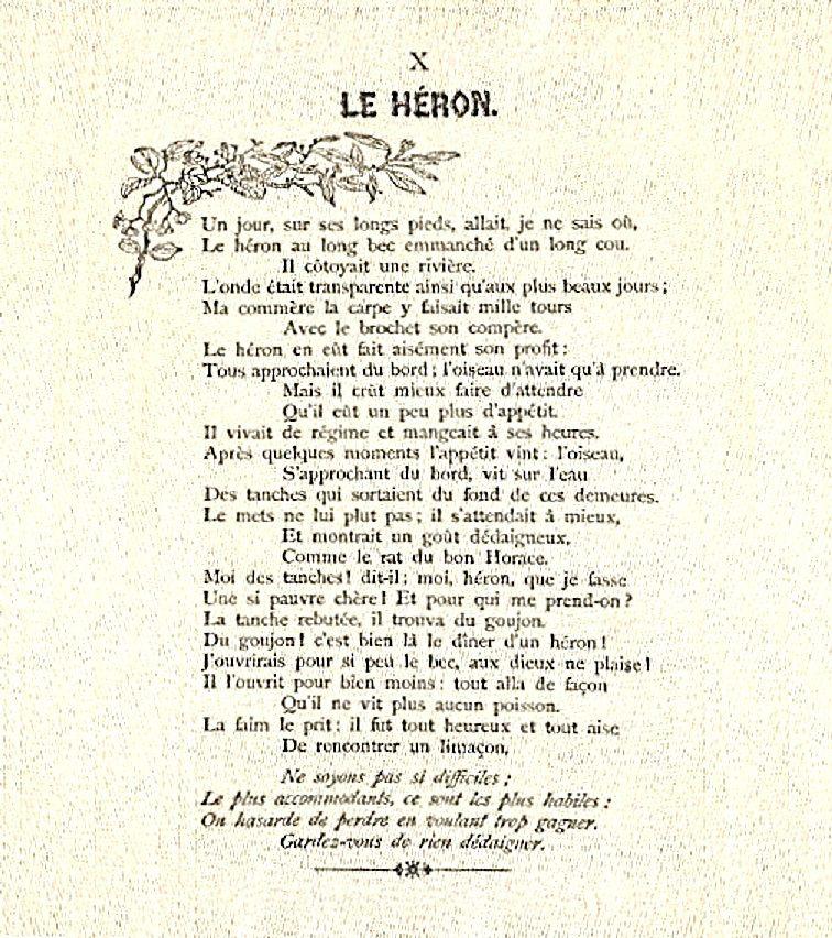Le Héron – Jean de La Fontaine