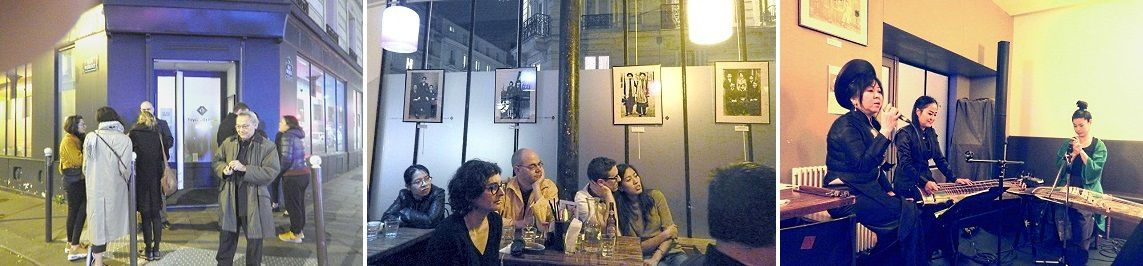 Nguyên Duy Tân vice-président de l'Alliance Internationale devant le Foyer du Vietnam  –  La salle avec l'exposition de photos   –  Huong Thanh, Ejoung Ju et Fumie Hihara