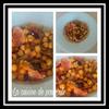 Salade de pois chiches, oignons rouges et poitrine fumée