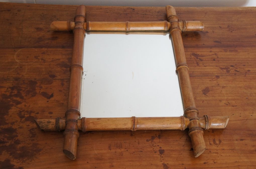 Miroir bambou vintage r tro ann es 40 50 merisier r tro for Miroir bambou