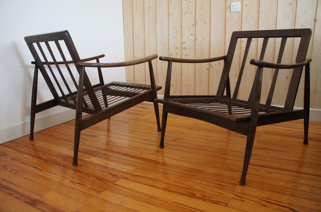 VENDU - chauffeuse scandinave fauteuil vintage style danois rétro années 60 design