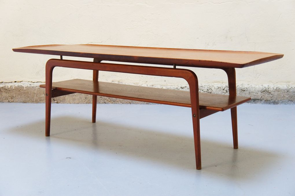 Vendu table basse scandinave de salon teck danois ann es - Table basse scandinave annee 50 ...