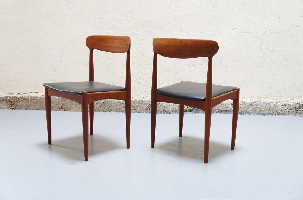 vendu - chaises Johannes Andersen scandinave danois teck signé vintage années 50 60 70 année design designer Paire de