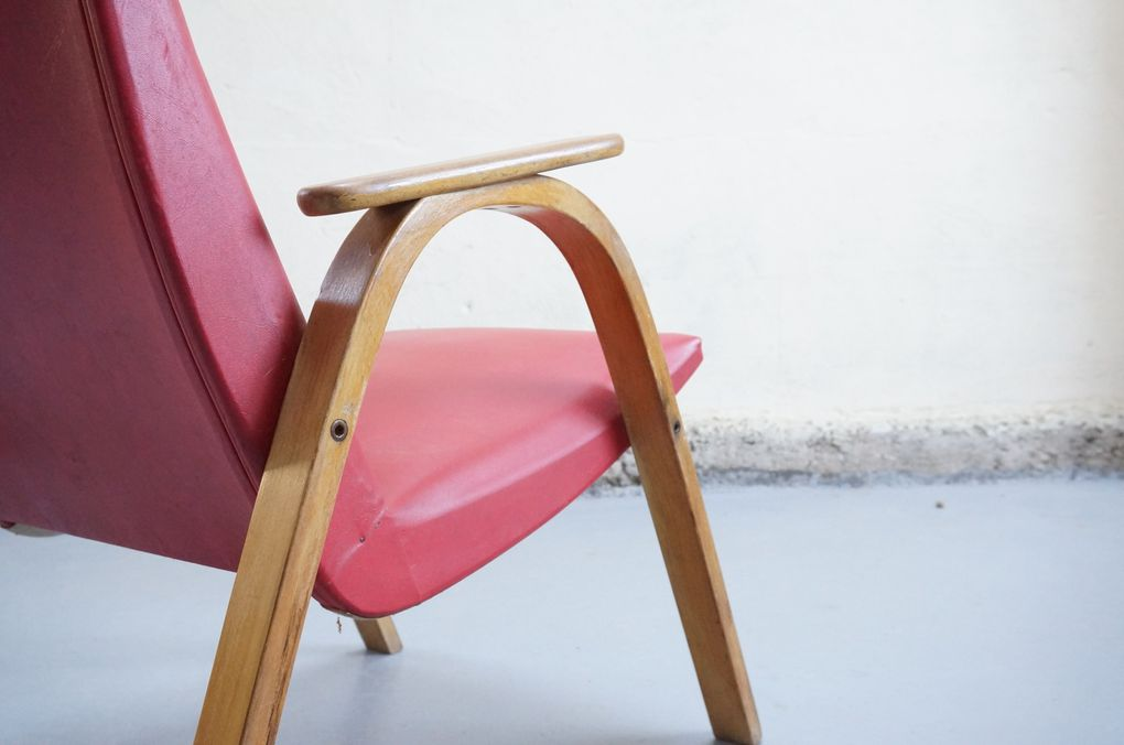 vendu - fauteuil vintage steiner années 50 60 Bow wood hetre