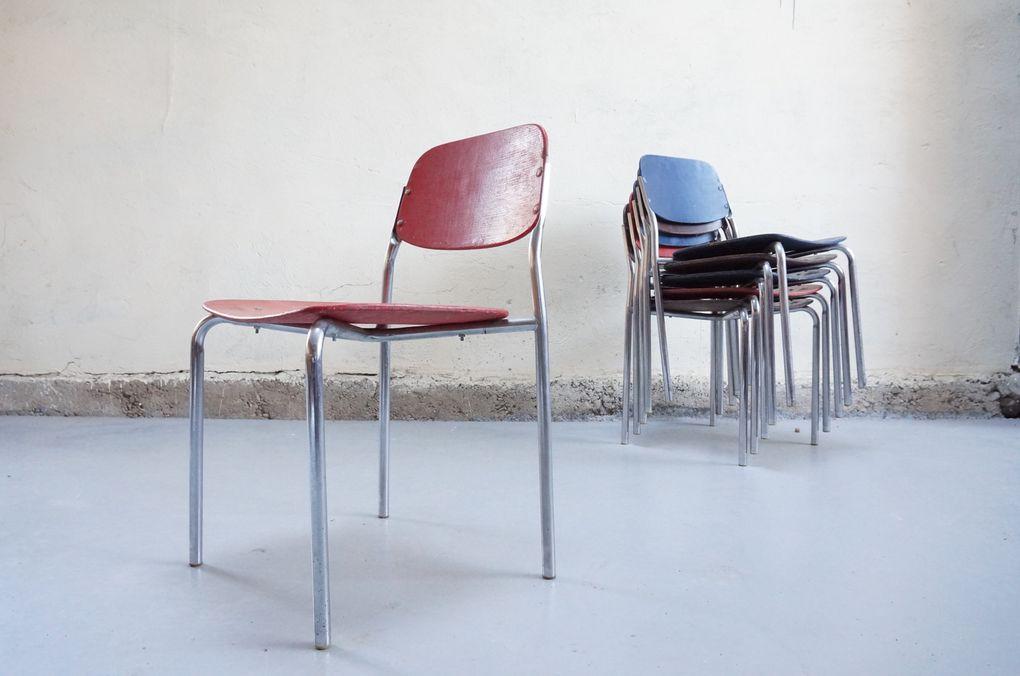 Chaises vintage années 50 60 industriel collectivité design chromé contreplaqué retro atelier école