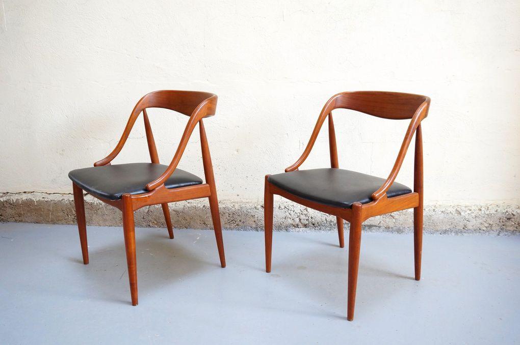Vendu - Johannes andersen chair paire de chaise danois scandinave vintage teck design années 60 samcom