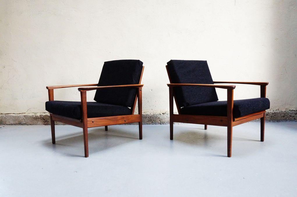 vendu paire fauteuil scandinave danois teck 233 es 50 60 70 design mad salon chauffeuse