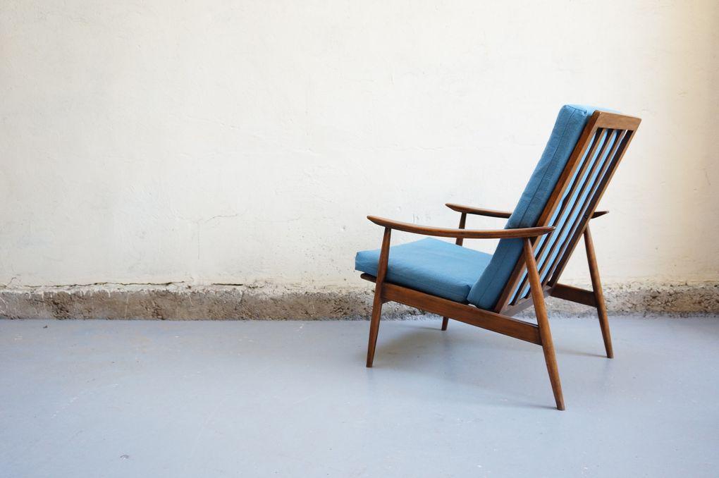 fauteuil scandinave années 50 60 70 vintage design chauffeuse mad men retro hetre décoration danois