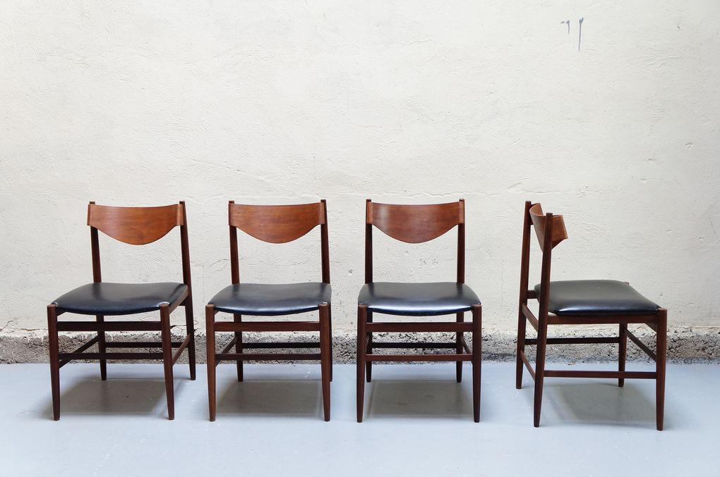 Suite chaises scandinaves teck danois design vintage for Mobilier annee 50