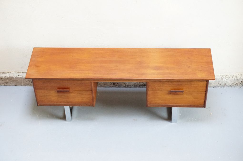 meuble bas scandinave bureau tele teck annees 50 60 70 vintage design danois mad men bureau