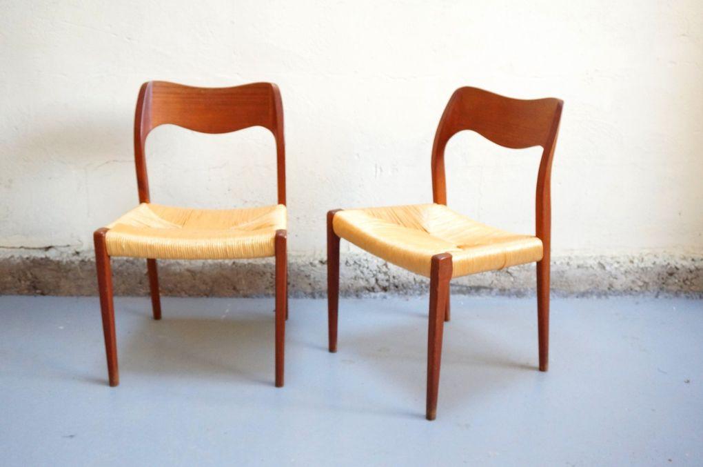 Niels O. Moller Paire de chaise danois scandinave design vintage teck années 50 60 année hans wegner model 71