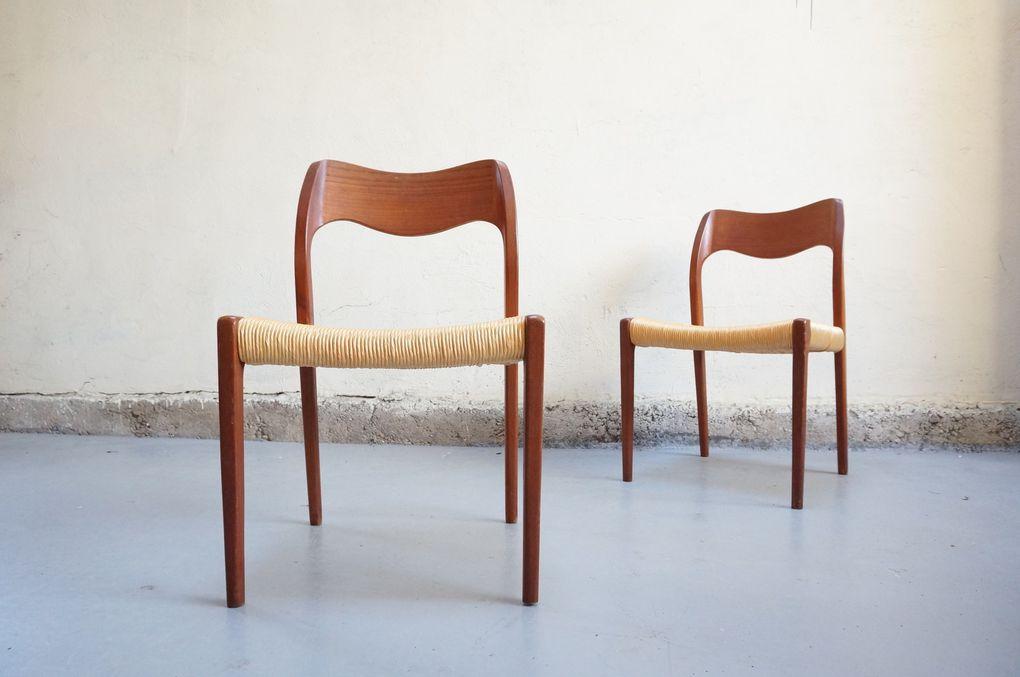 Niels o moller paire de chaise danois scandinave design for Designer scandinave annees 50