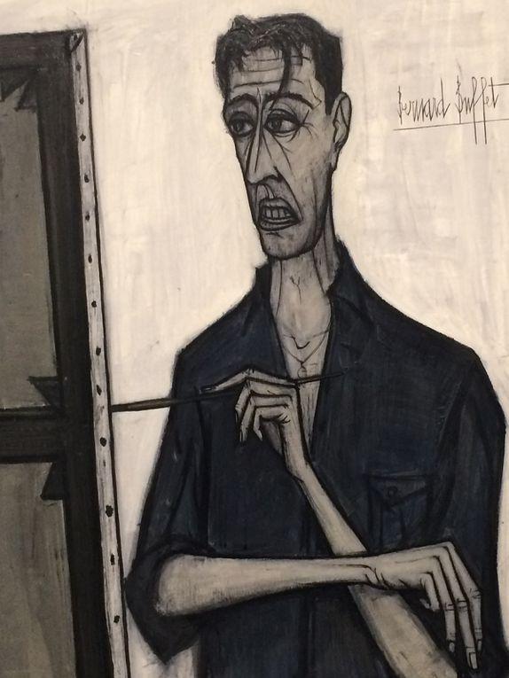 Portrait Pierre Bergé, portrait Annabelle, autoportraits, Clown au trombone, Kabuki, Le buveur, Petit duc, Eglise de Pontoise, Tête de clown