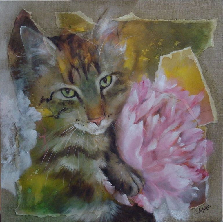 "Mon chat FLINT et son portrait ""Un air de Flint"" 40 x 40 cm"
