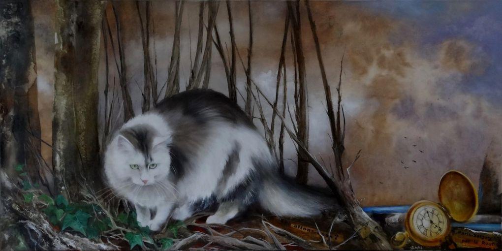 """""""Escapade"""" huile sur toile 100 x 50 cm  et FENDI, le modèle qui apprécie son portrait..."""