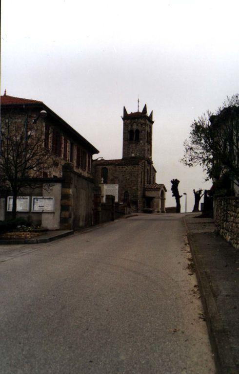 """4 mûriers de la """"place des mûriers"""" à St Michel sur Rhône &#x3B; sur la carte ancienne, le toit de l'église apparaît tel qu'il était avant l'orage de 1907 &#x3B; on apercevait déjà les deux mûriers qui sont juste à côté de l'église &#x3B; le troisième, qui est le plus ample et sur la place même, n'apparaît pas sur cette vue. Le quatrième est un peu plus bas sur la place."""