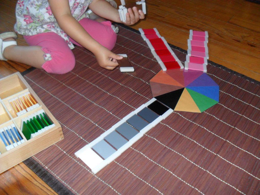 Premier essai de la troisième boîte de couleurs pour Alana : elle les place par couleurs, mais au hasard, puis prend de la hauteur pour se corriger.