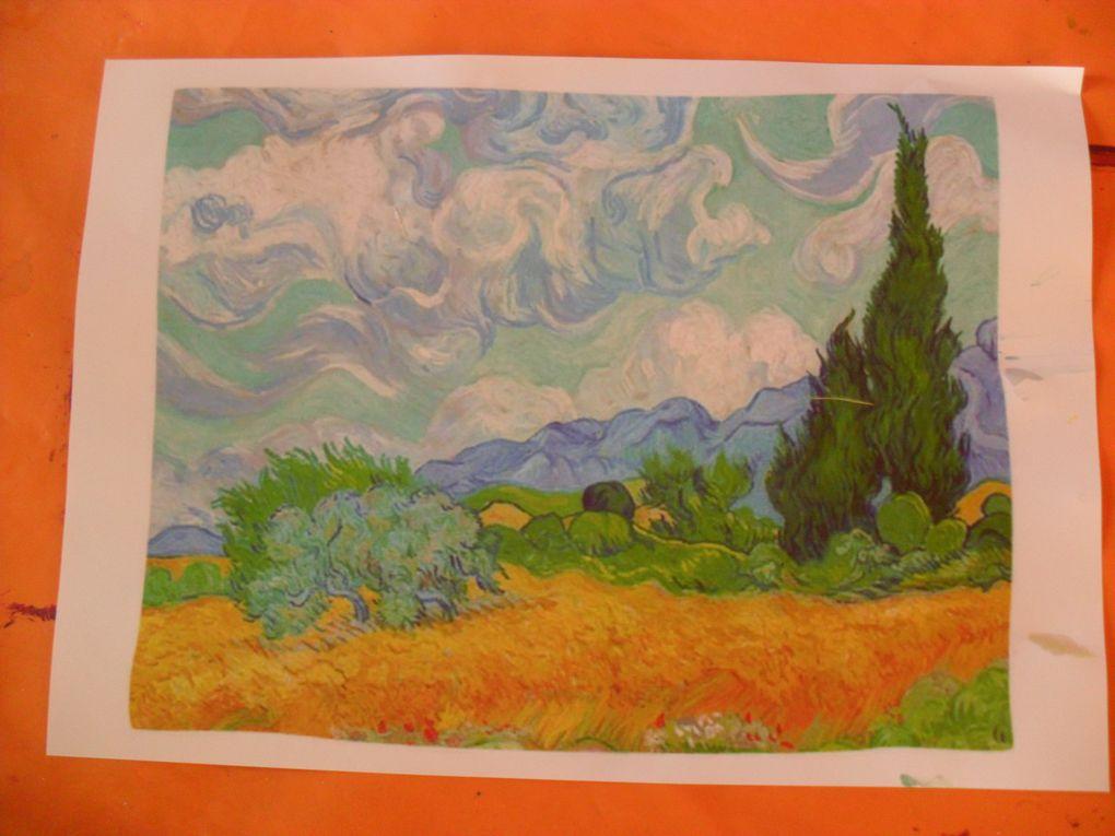Il a pu ensuite, aidé par Mathieu, peindre une oeuvre de Van Gogh.