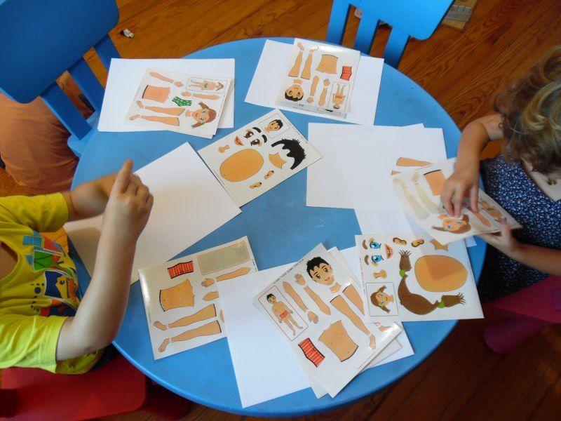 Les gommettes sur le corps humain : reconnaître et nommer les différentes parties de son corps.