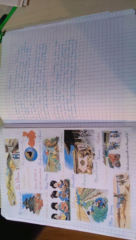 Les enfants ont écrit une leçon sur la Chine et l'ont illustrée avec des dessins et des pochoirs.