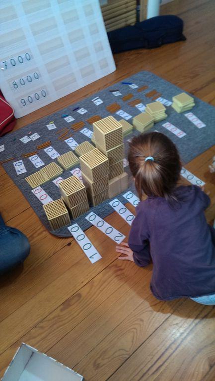 De la numération avec le matériel Lubienska pour réviser les nombres jusqu'à 9999 et travailler sur la notion d'unités, dizaines, centaines, milliers qui lui pose encore un peu problème.