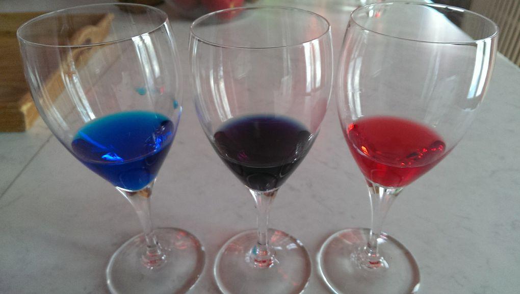 Au bout de quelques heures, on voit bien les couleurs secondaires qui se sont formées. Pour le violet, la photo ne rend pas très bien.