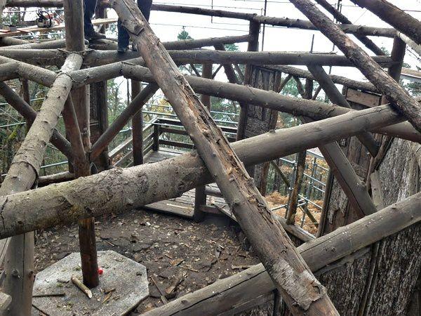 Les travaux de réfection de la toiture du kiosque Jadelot, automne 2014