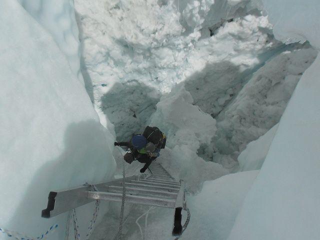 Dans l'Ice Fall, les blocs sont dans tous les sens