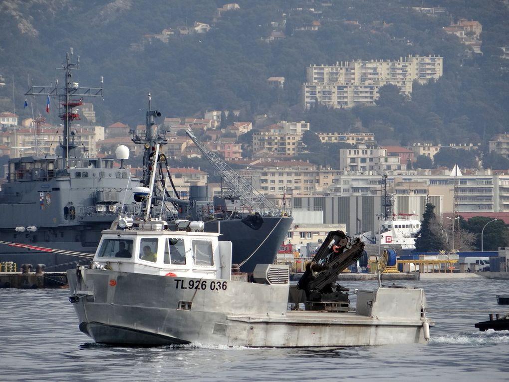 POLLUX , vedette pour travaux portuaires dans le port de Toulon le 25 mars 2016