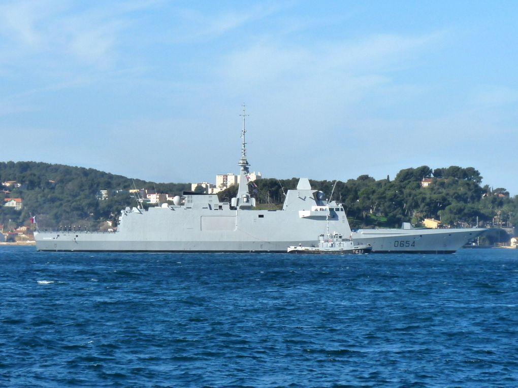 AUVERGNE  D654 , Frégate européenne multi-missions (FREMM), arrivant à Toulon , son nouveau port d'attache le 02 mars 2017