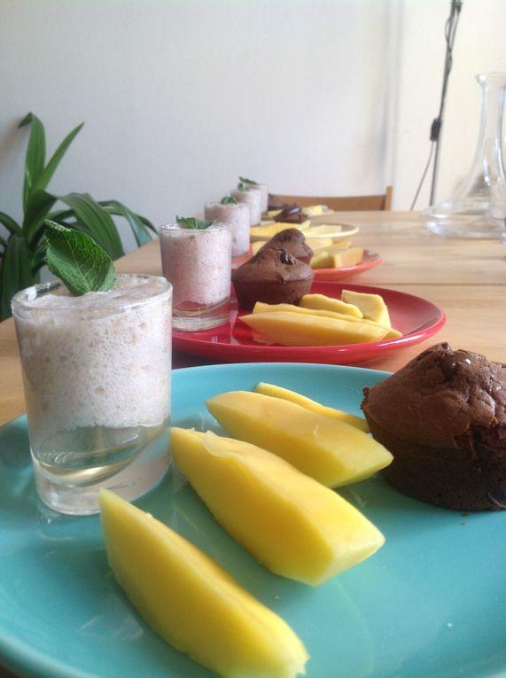 Mousse de banane et coulant au chocolat.