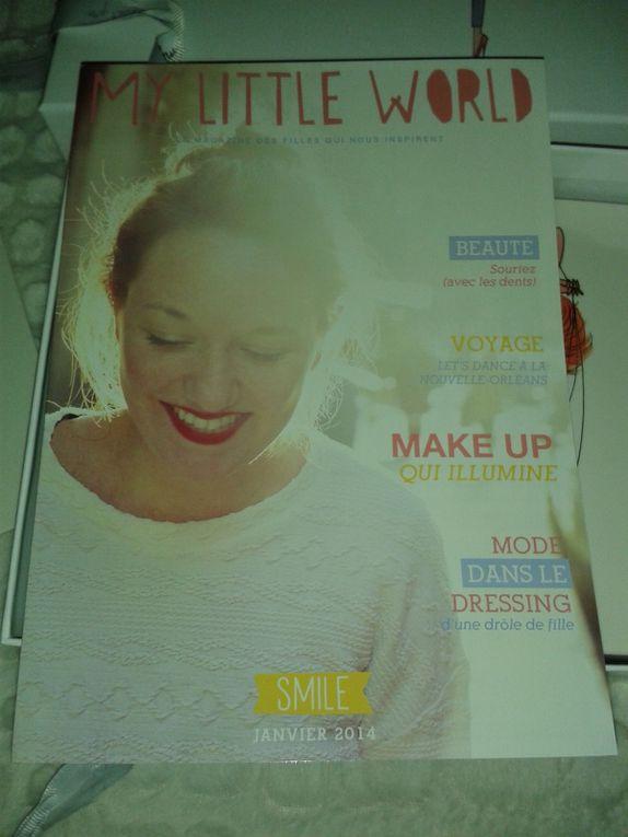 Ma devise quotidienne sur la cartonnette à message, merci Charlie Chaplin et le magazine qui ne fait que prolonger ce sourire de pages en pages... L'ouverture de la box comence bien =).