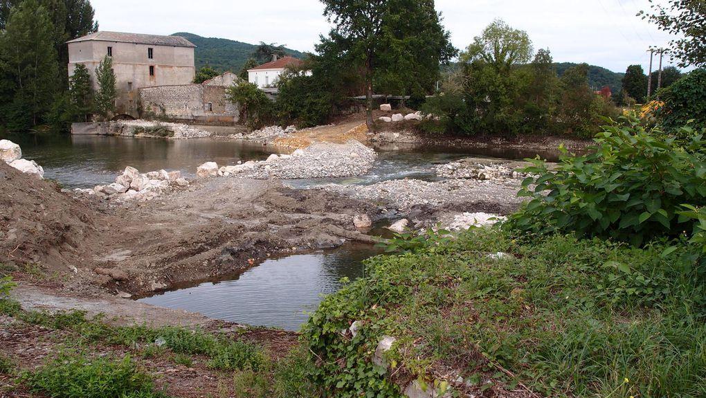 Vues depuis l'amont de l'usine hydroélectrique de Mazères Sud