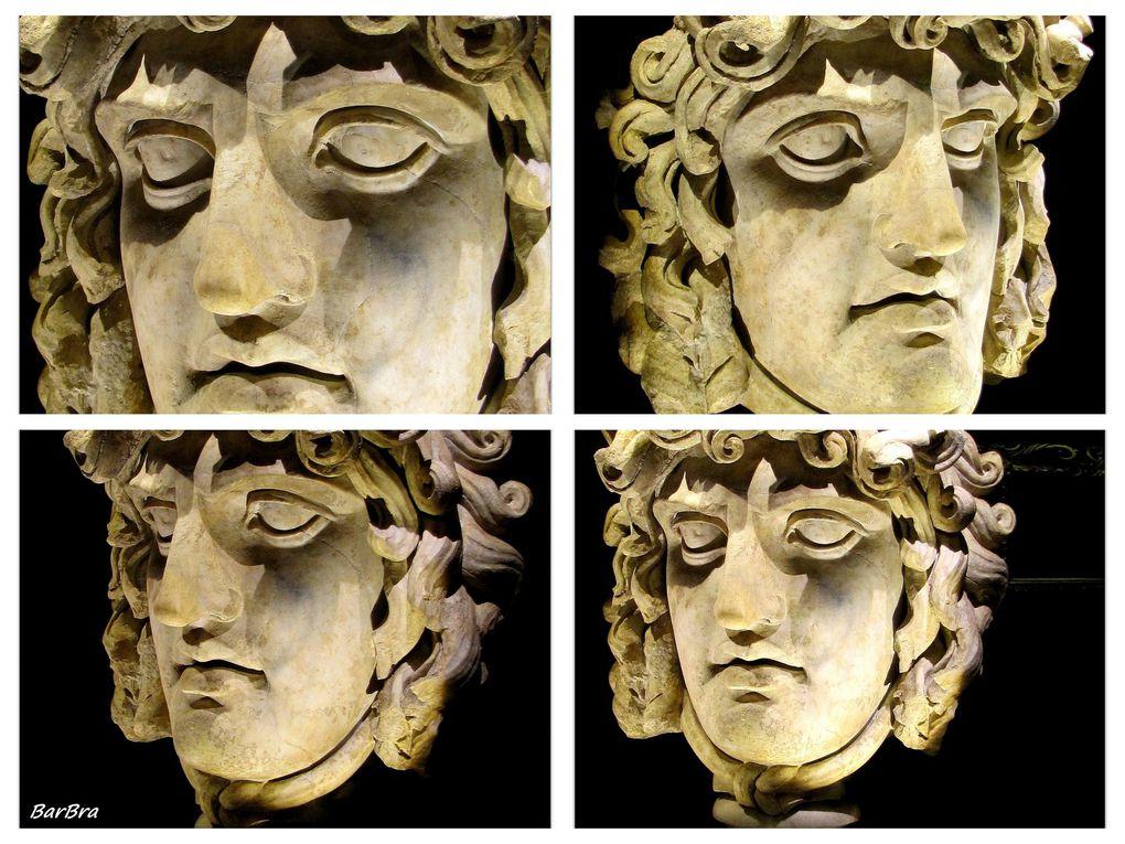 """fra tutte, attrae l'obiettivo la terribile fissità dello sguardo di questa splendida """"Testa di Gorgone"""" del II sec. d.C."""