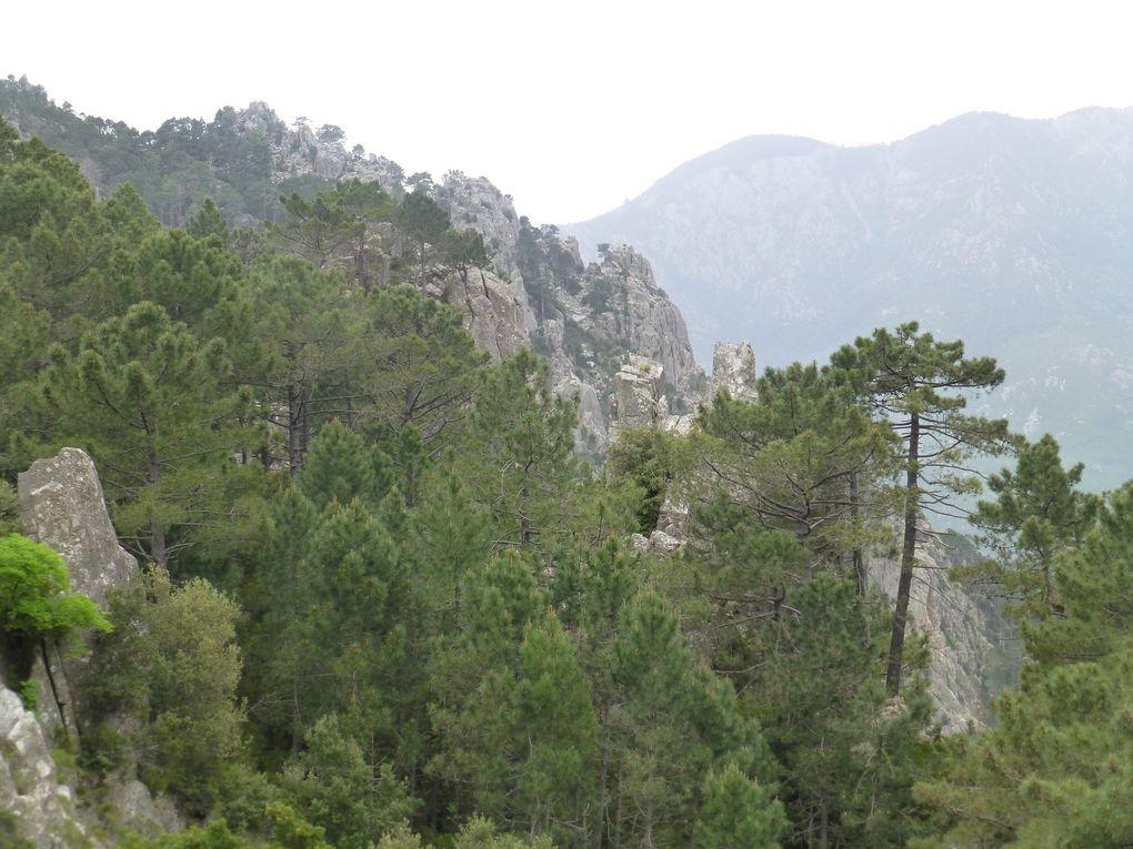 Un paysage très minéral pour cette dernière journée sur le GR 20, quelques belles montées, un peu de sueur, un dernier col et on bascule sur Conca. Au loin la baie de Porto-Vecchio et la Sardaigne. Quel magnifique voyage!!