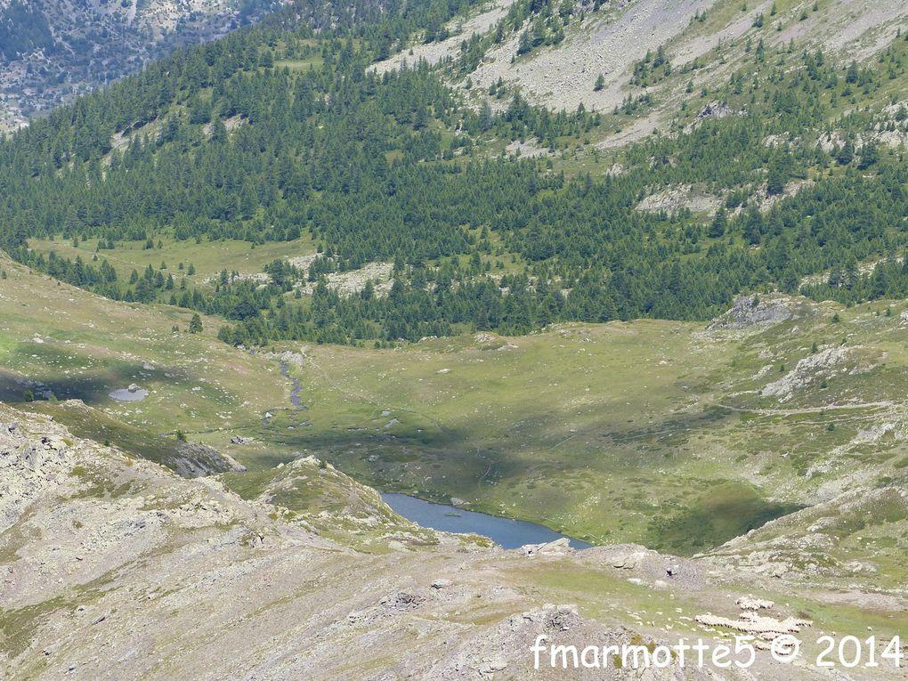 Panorama du sommet : Cerces,Thabor, lac de Cristol, Ecrins, Briançon.