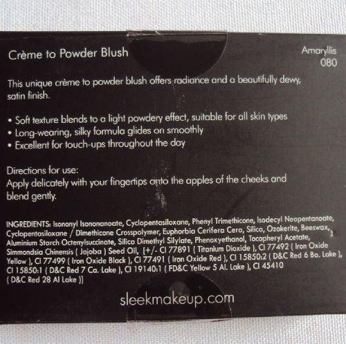 Sleek MakeUp : Crème to powder blush (080 Amaryllis)