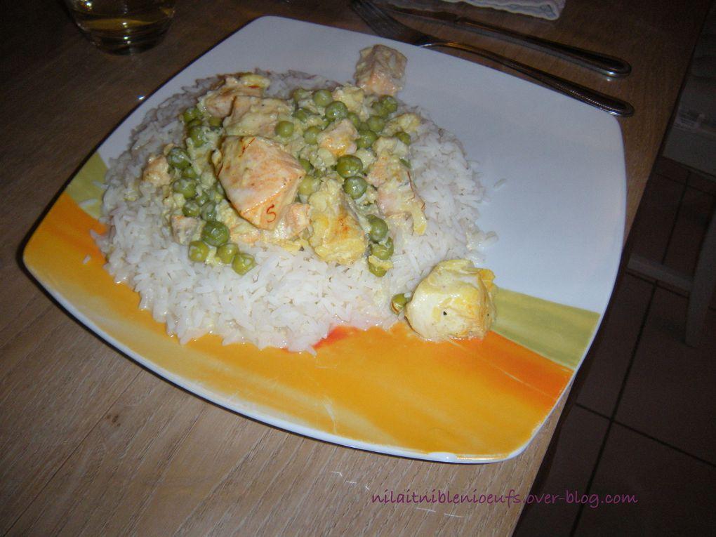 Filets de saumon et cabillaud au safran et petits pois
