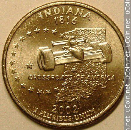 Dessin du quarter dollars de l'Etat d'Indiana&#x3B; Podium du GP et Hungry Heidi dans toute sa splendeur.