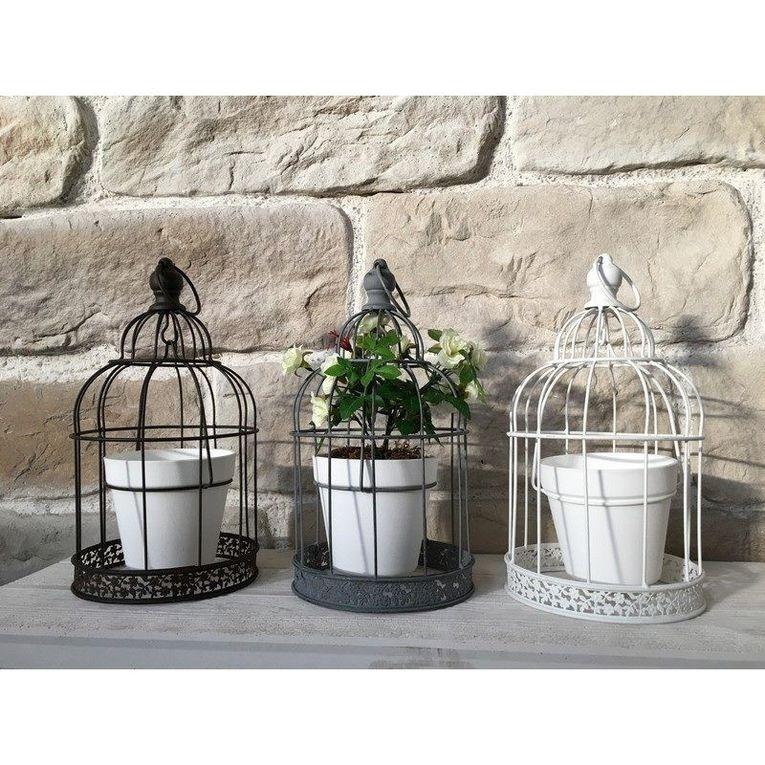 Cage à Oiseaux Oiseau Porte Plante Fleur Jardinière à Suspendre en Fer 18 cm GRIS