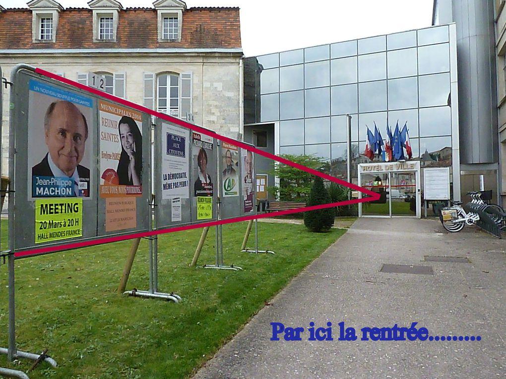 18 - Défilé et pacte responsabilité - Les têtes des candidats Saintais - Jean-Pierre Rafarin.. en soutien à la vague bleue, ne mâche... pas ses mots